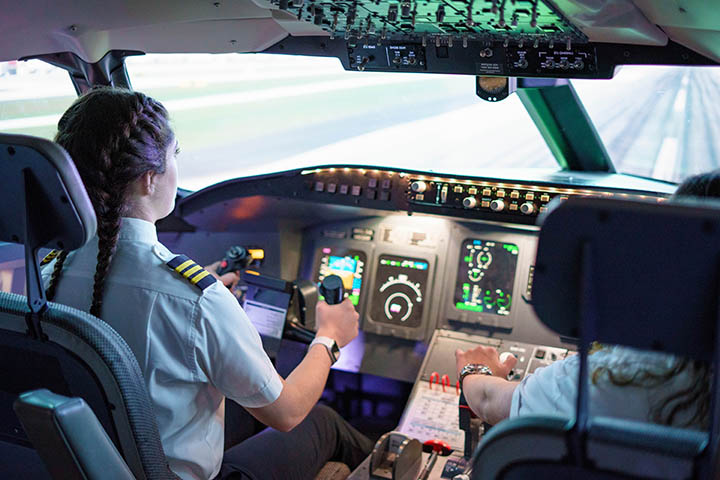 SLU Parks College aviation student in the cockpit