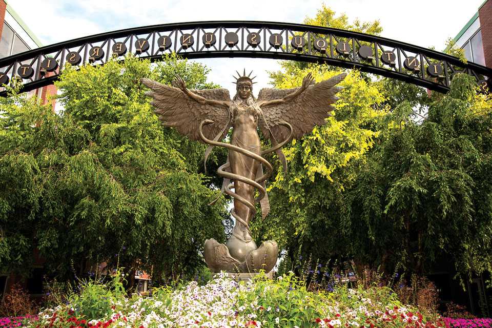 The Angel of Mercy statue on the south campus of Saint Louis University